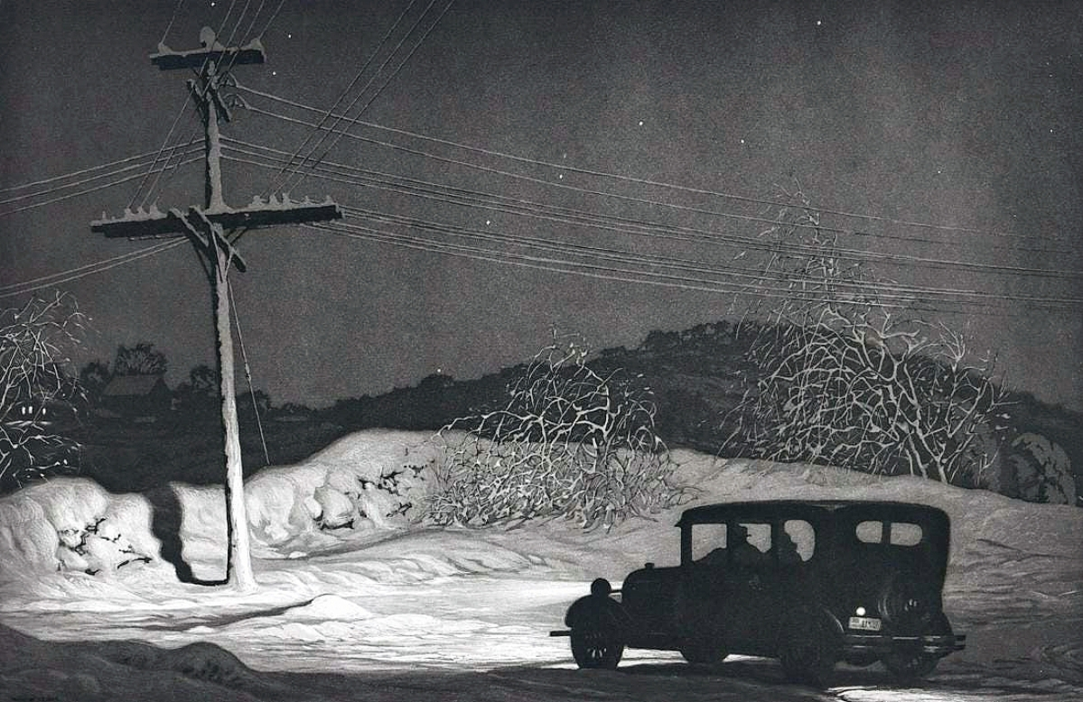 """Martin Lewis titled this aquatint etching """"Which Way,"""" as it depicts the uncertainty of a snow-covered road. The nightview, with provenance to The Old Print Shop in New York City, brought a fine price at $39,100."""
