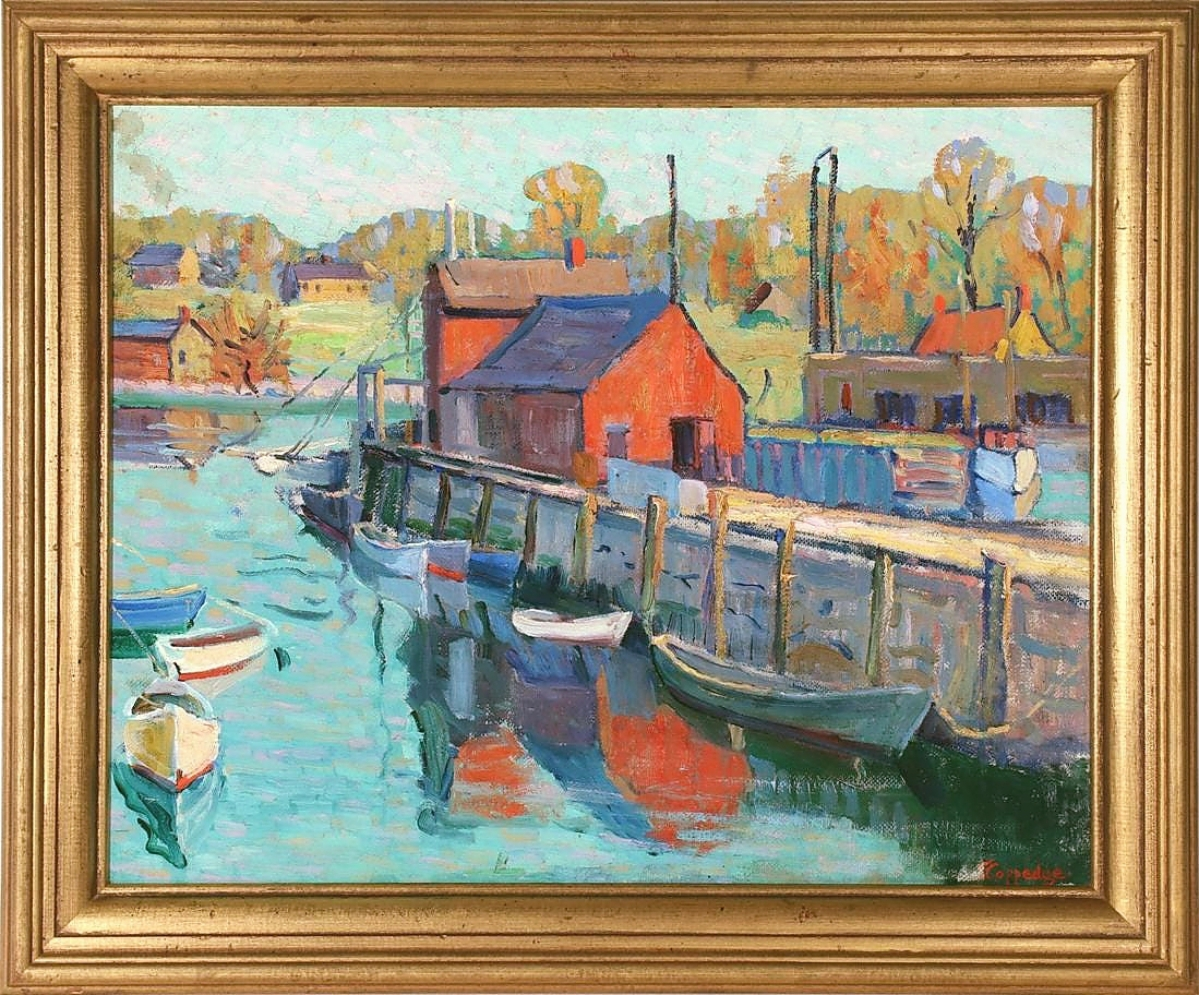 """Soulis says this work by Pennsylvania Impressionist Fern Coppedge was a recent discovery. The subject is among the most prolifically painted in American history, """"Motif #1,"""" the little red fishing shack in the Rockport, Mass., harbor. The oil on canvas measured 16 by 20 inches and sold for $33,000."""