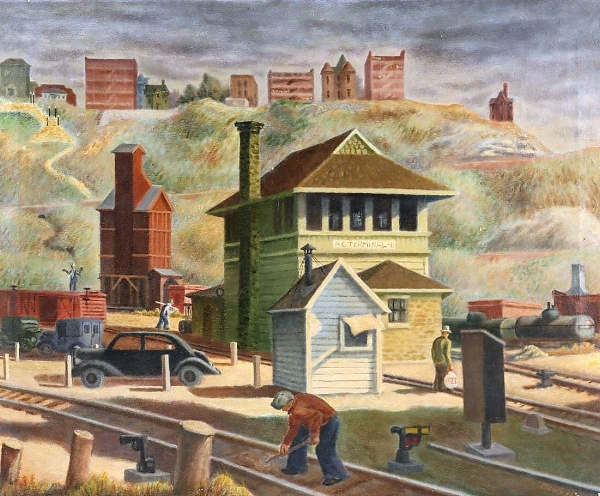 """An egg tempera on canvas by Thomas Hart Benton's student and assistant, Joseph Meert, would sell for $26,400. """"Railroad Yards"""" was dated 1937 and came from a home not far from the Kansas City Art Institute, whose address is written on the back."""