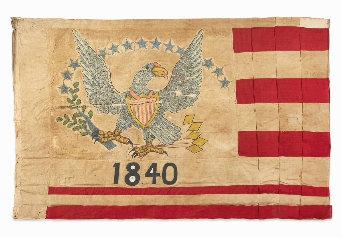 Rising to $17,650 was an American flag associated with pre-statehood California that sold to the trade. It had a connection to Sutter's Fort, a trading and farming outpost at the junction of the Sacramento and American Rivers.