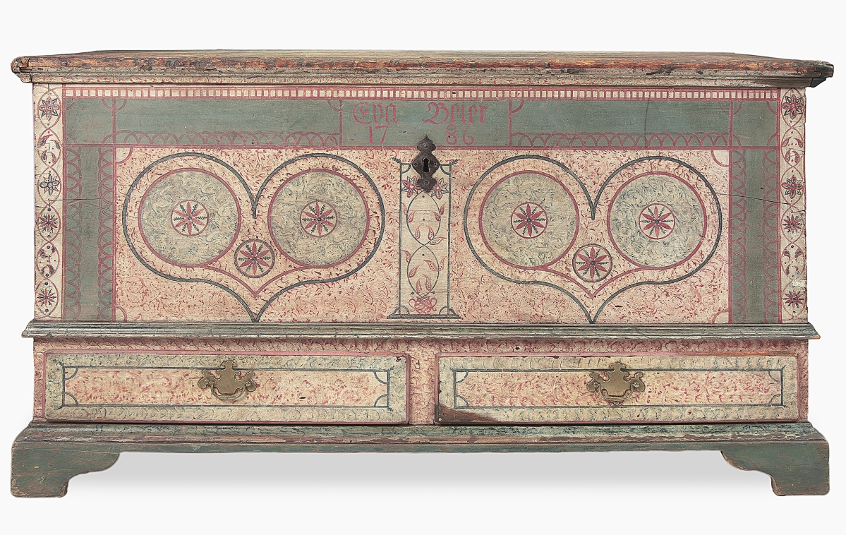 Highest among the furniture was this profusely decorated poplar Berks County dower chest attributed to John Bieber (1763-1854), which brought $18,900. It came with its original lock and hardware and was inscribed to Eva Beier and dated 1786.