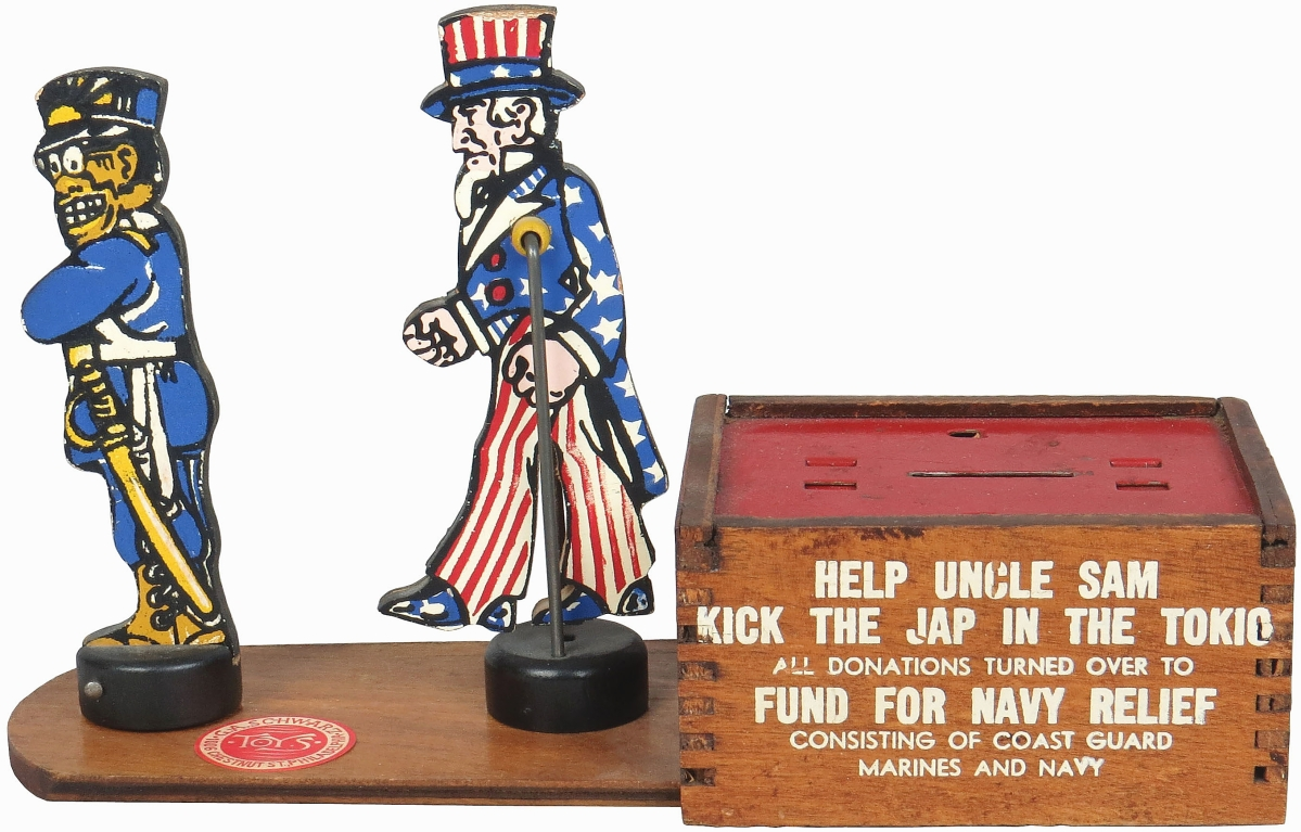 The Kick the Jap in the Tokio mechanical bank, an early 1940s war bank made of wood, was rare, the only complete example known and sold for $5,520.