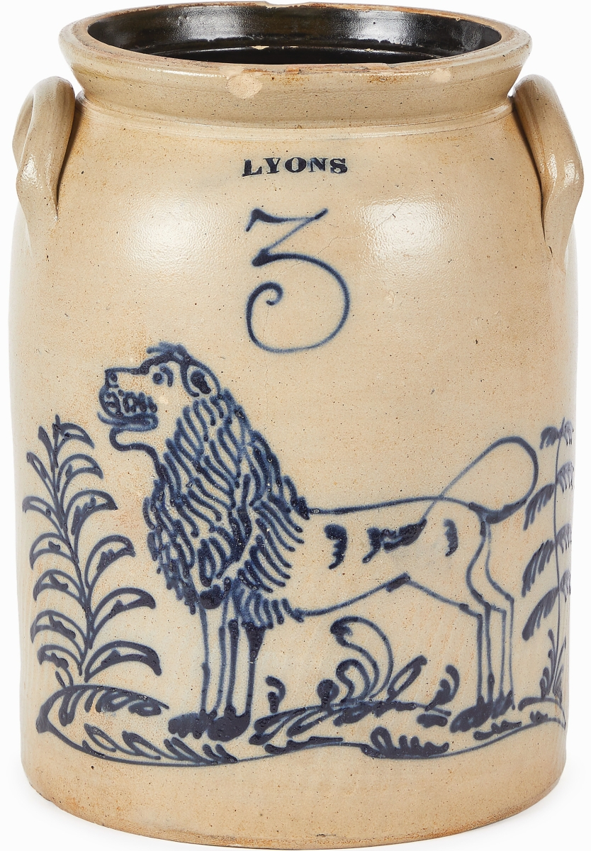 A cobalt brushed lion graced this 3-gallon crock stamped Lyons. It took $36,900.