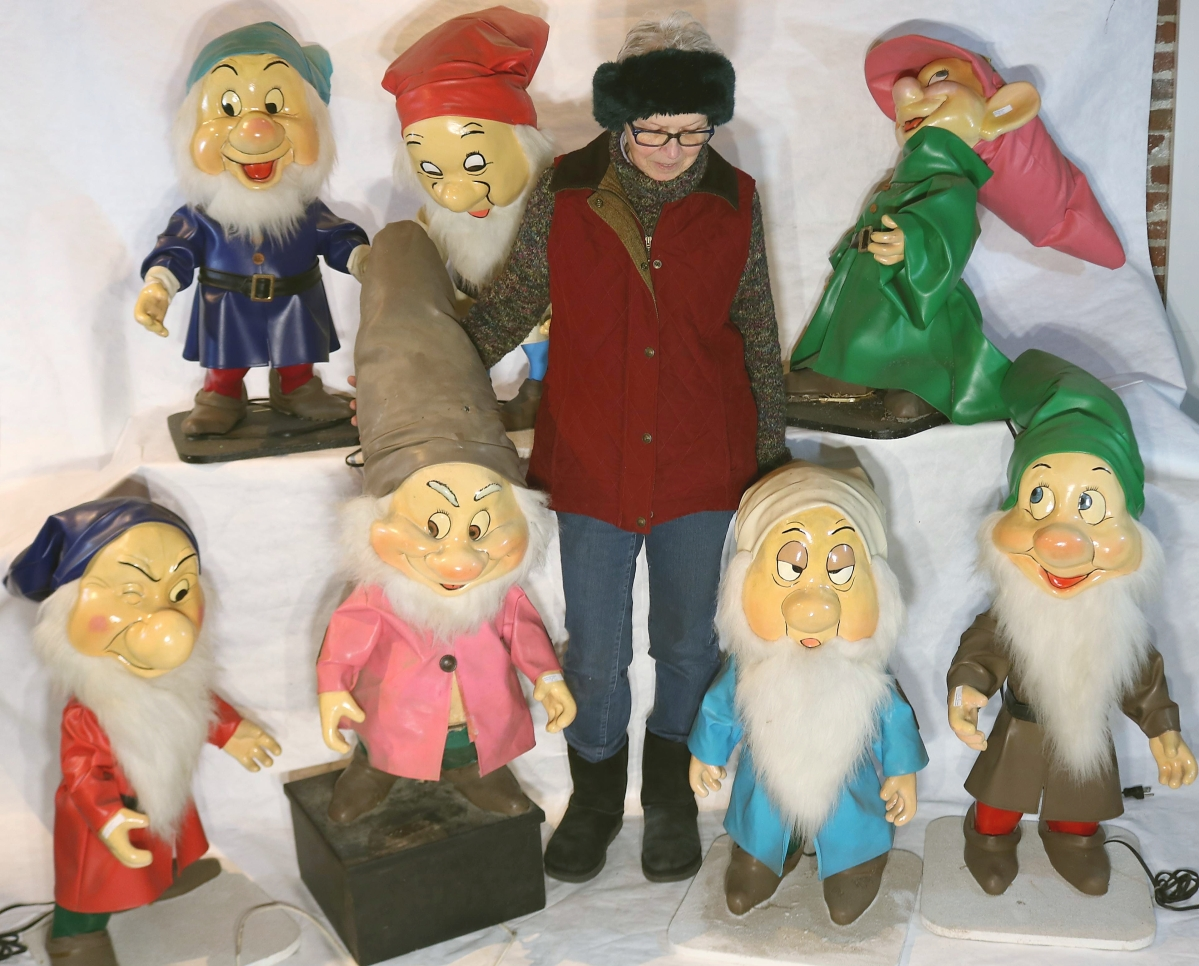 Among the automatons offered in the sale, perhaps the most winsome were Seven Dwarfs fetching $7,188. Of composition and on wooden stands, they ranged from 30 inches to 34 inches high, with one on a platform reaching 48 inches high. That is not Snow White standing in their midst but 5-foot-2-inch Diane McNamee.
