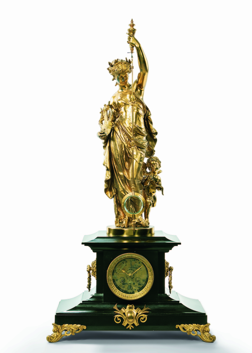 A patinated and gilt-brass figural mystery clock from French maker A Guilmet soared to $18,750. It measured 42 inches high.