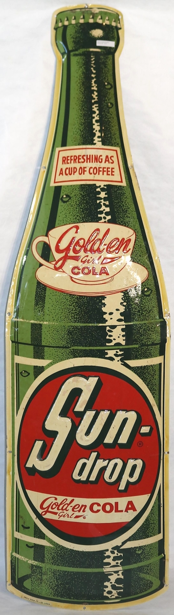 This Sun Drop Golden Cola bottle embossed sign was one of the advertising signs that contributed pleasant surprises in the sale. It brought $5,000 against an estimate of $800-$1,200.