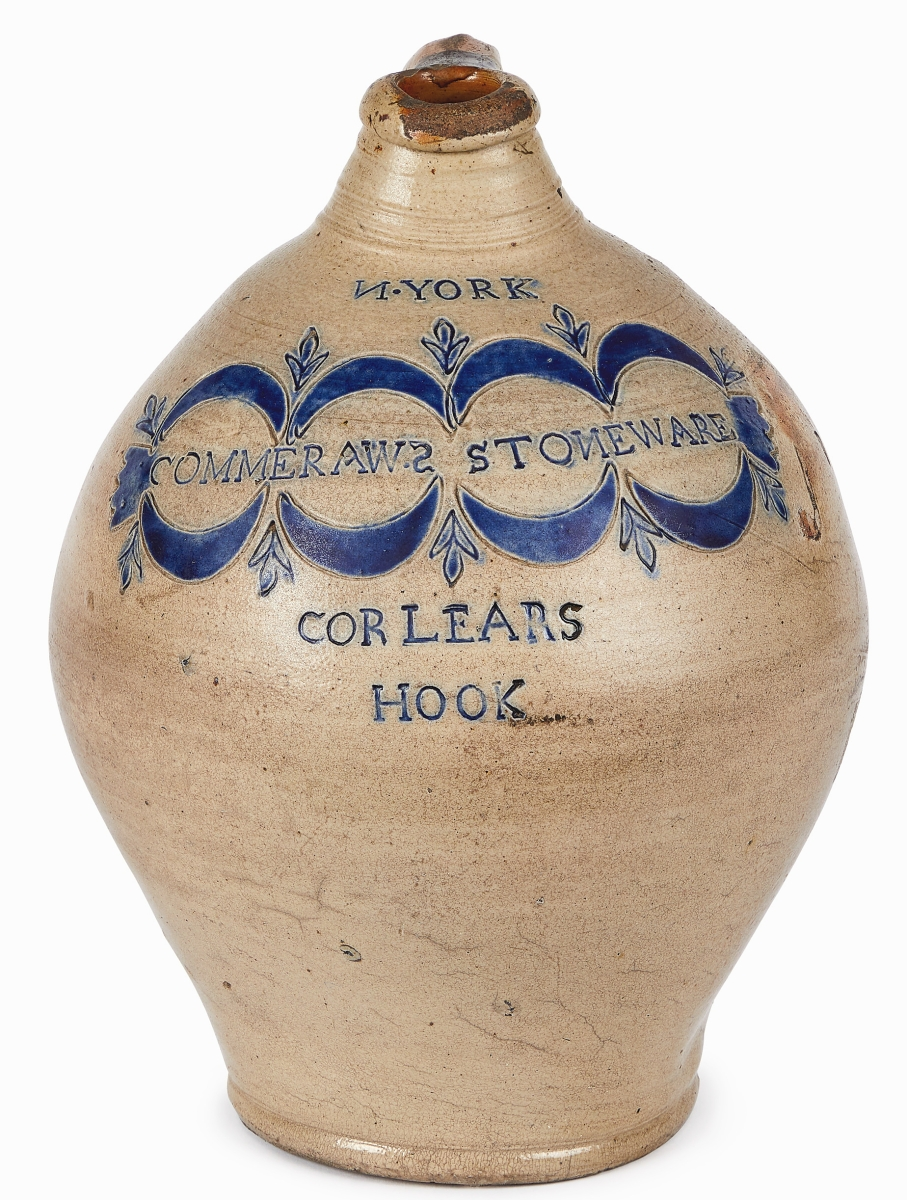 Black potter Thomas Commeraw created this nicely decorated jug in Corlears Hook. It brought an impressive $37,800.