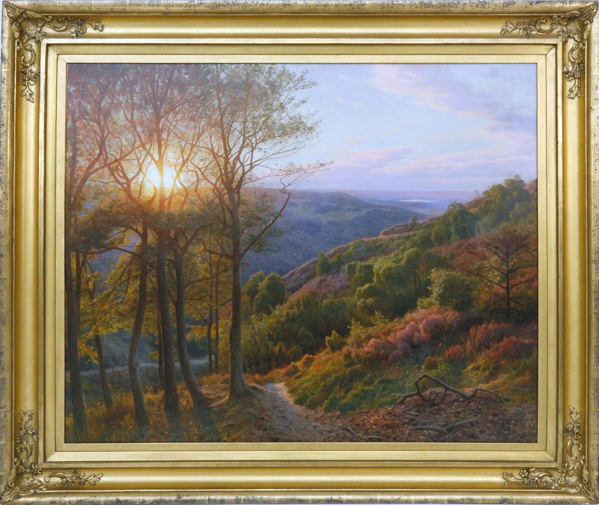 """The second highest price in the sale — $18,300 — was shared by two lots, one of which was """"View from Himmelbjoerget, Sun Streaming Through the Trees"""" by Danish painter Peder Mork Monsted (1859-1941). Measuring 36½ by 44½ inches, the painting sold to a buyer in the Rocky Mountains who outbid two phone bidders from Germany ($5/7,000)."""