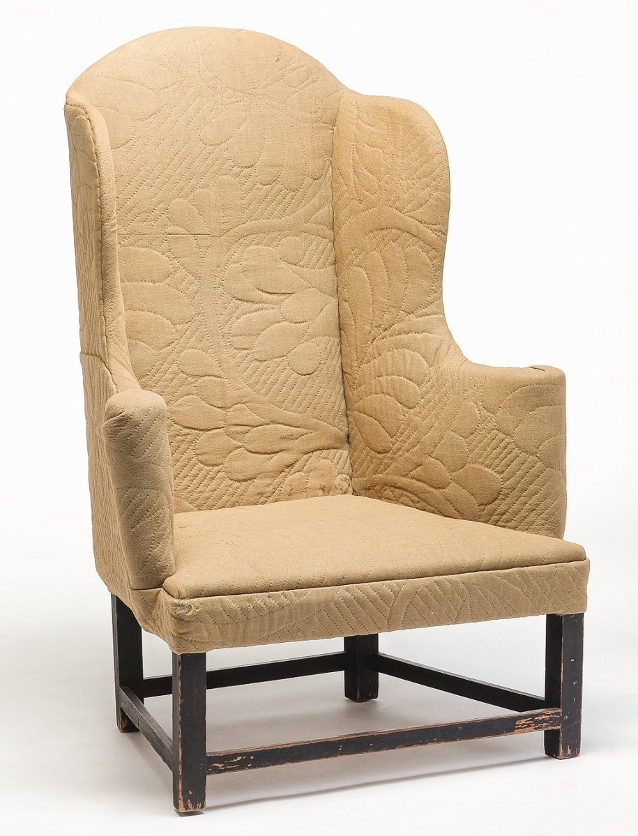 The provenance of this early Chippendale wingback chair was documented to an Eighteenth Century Ipswich, Mass., family. A Southern private collector, bidding online, outlasted competitors and pushed it to $5,125 ($ ,000).