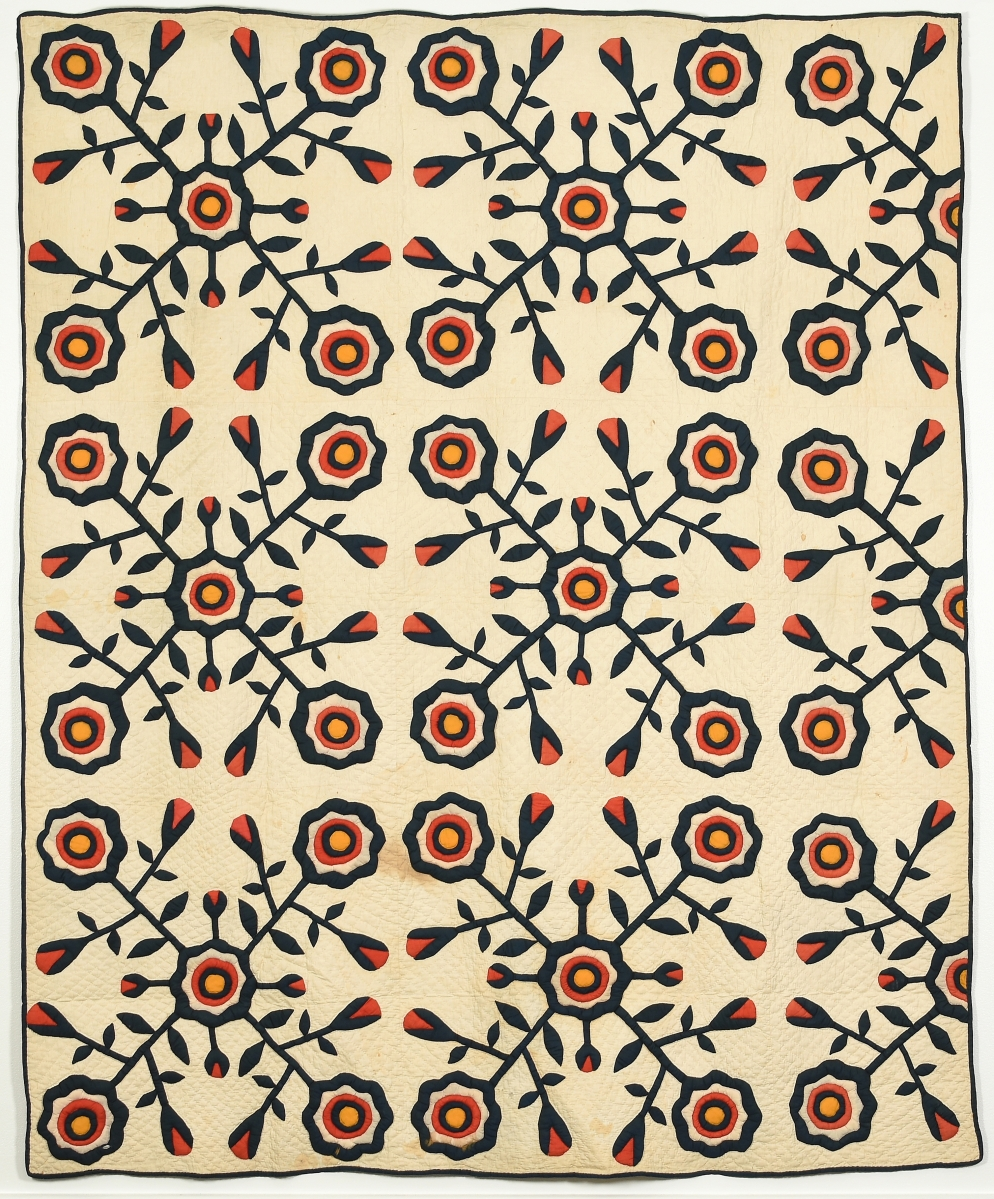 Apple quilt by Isabella (Bell) Phillips Boyd (1862-1953), late 1800s. Cotton, 90¾ by 74½ inches. Gift of Dr Paul M. Goggans.