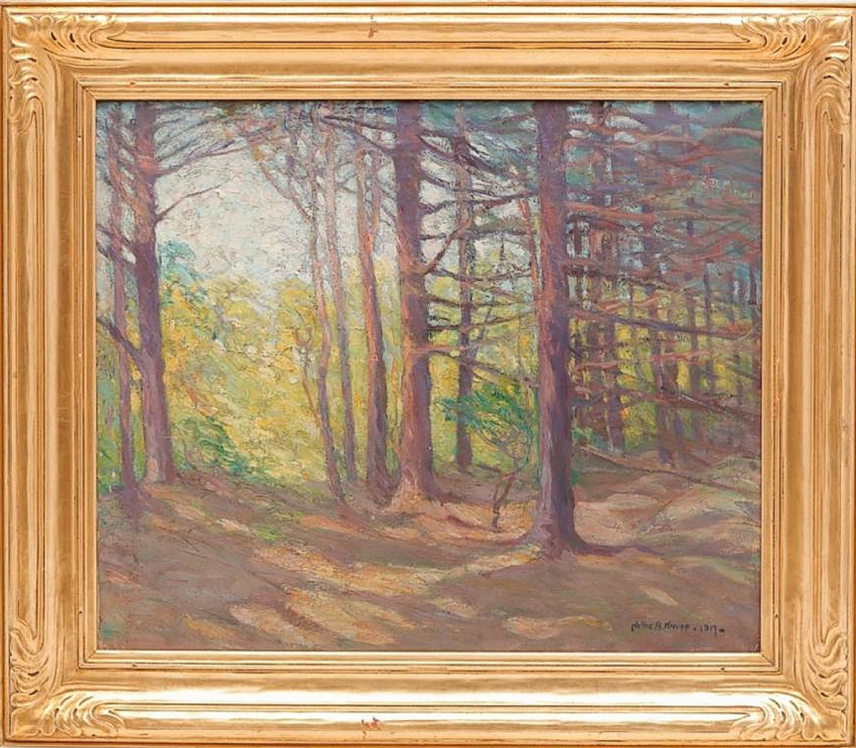 Selling for the third highest price in the sale at $6,600 was this painting of a wooded landscape by Nellie Augusta Knopf (Illinois/California, 1875-1962). Housed in a giltwood Newcomb Macklin frame, the picture was from the Gates Mills, Ohio, collection of Dr Floyd Loop and Dr Bernadine Healy, who had acquired it at a Garth's sale in 2015. It is staying in the Midwest. ($6/8,000).
