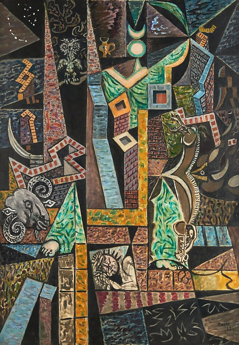 """Day 2's highest selling lot at $93,750 was an abstract oil on canvas painting by Nikos Hadjikyriakos-Ghika (Greek, 1906-1994), """"The Lady of Night,"""" 1957, oil on canvas, 1957, 36 by 25 inches, was signed """"Ghika,"""" dated lower right and titled verso on stretcher. The work, among many other top sellers in the sale, was from the collection of Litsa Tsitsera, scientist, political activist and art patron of New York."""