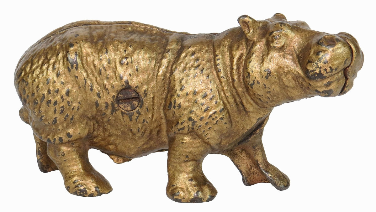 """Rated """"E,"""" signifying its rarity, this cast iron Hippo bank fetched $4,485."""