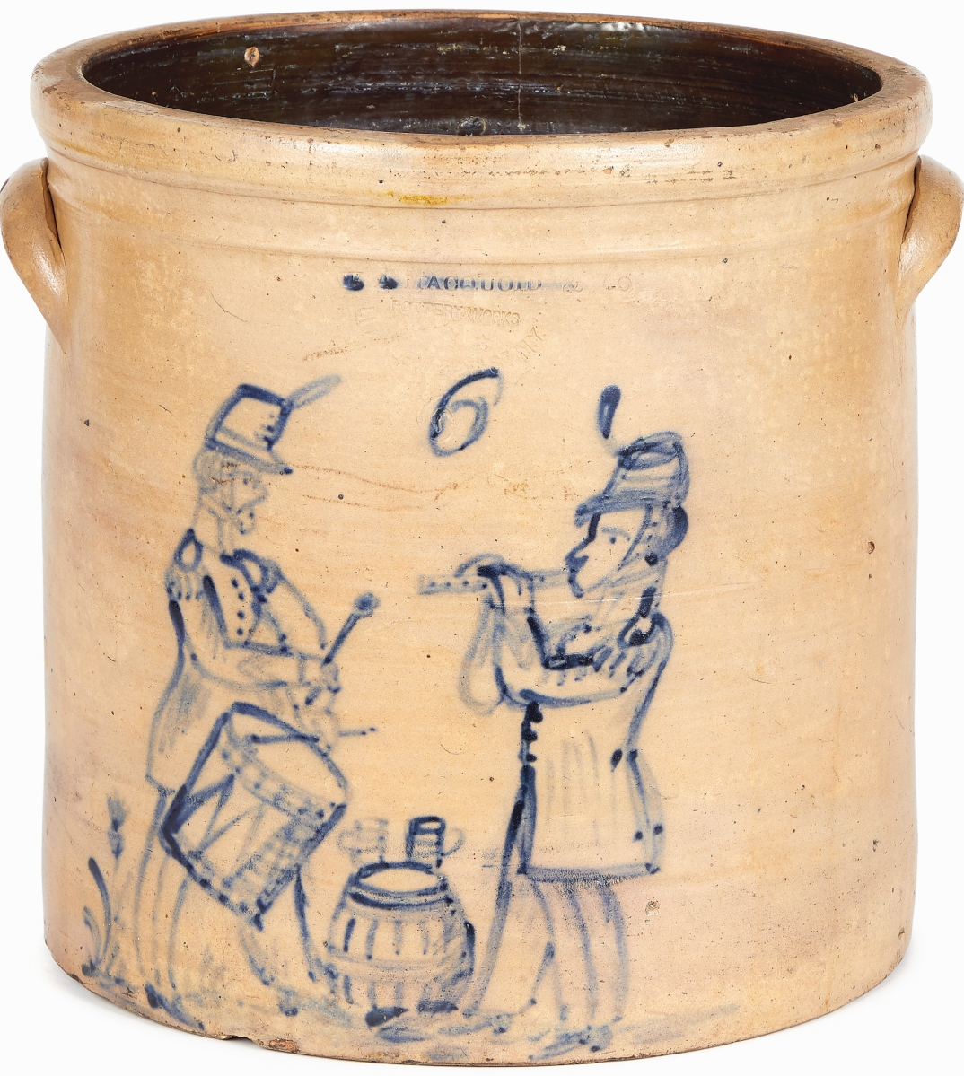 Two Civil War officers played a fife and drum around a keg in in this cobalt-brushed crock from Manhattan potter William Macquoid. It was the top lot in the sale as it sold to a Pennsylvania collector for $51,660.