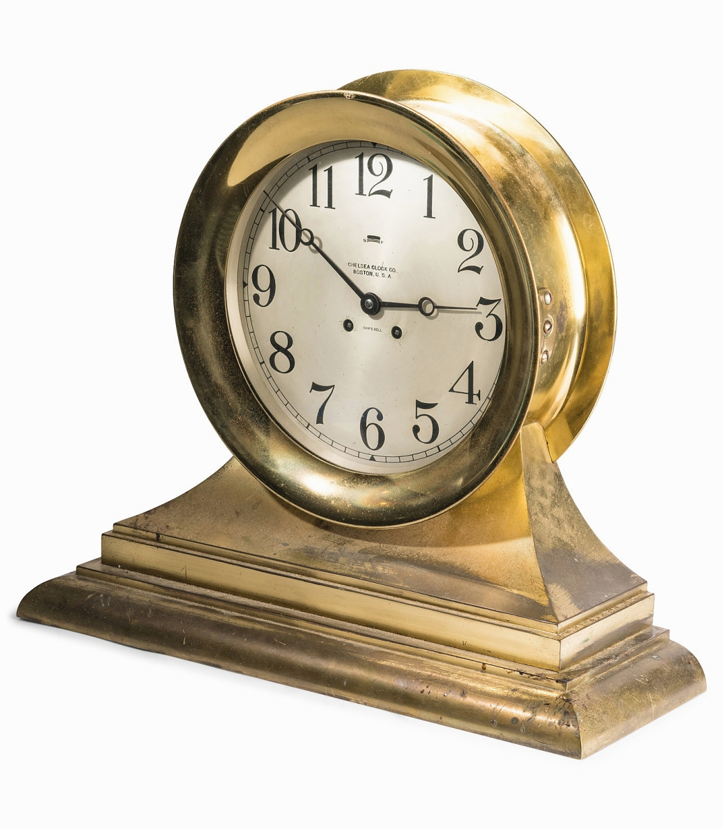 An American buyer, bidding for the first time at Hindman, prevailed against competition to acquire this Chelsea ship's bell-metal mantel clock for $12,500. Ben Fisher thought the large size — 16½ inches high by 18¾ inches wide — may have helped drive support, which also had a label to the William Wrigley Jr archives ($3/5,000).