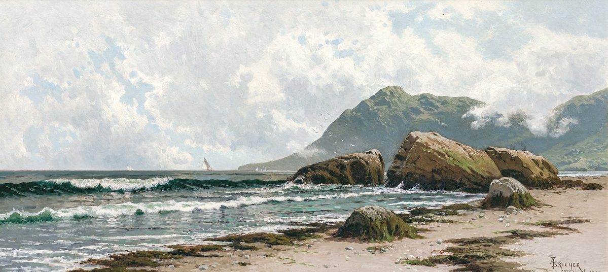 """Alfred Thompson Bricher (American, 1837-1908), """"Low Tide, Grand Manan Island,"""" oil on canvas, signed, 15 by 33 inches, earned $60,000."""
