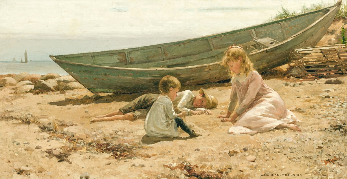 """Charles Morgan McIlhenney (American, 1858-1904), """"Summer Afternoon by the Shore,"""" oil on canvas, signed, 14 by 26¾ inches, sold for $100,000, a new auction record for the artist."""