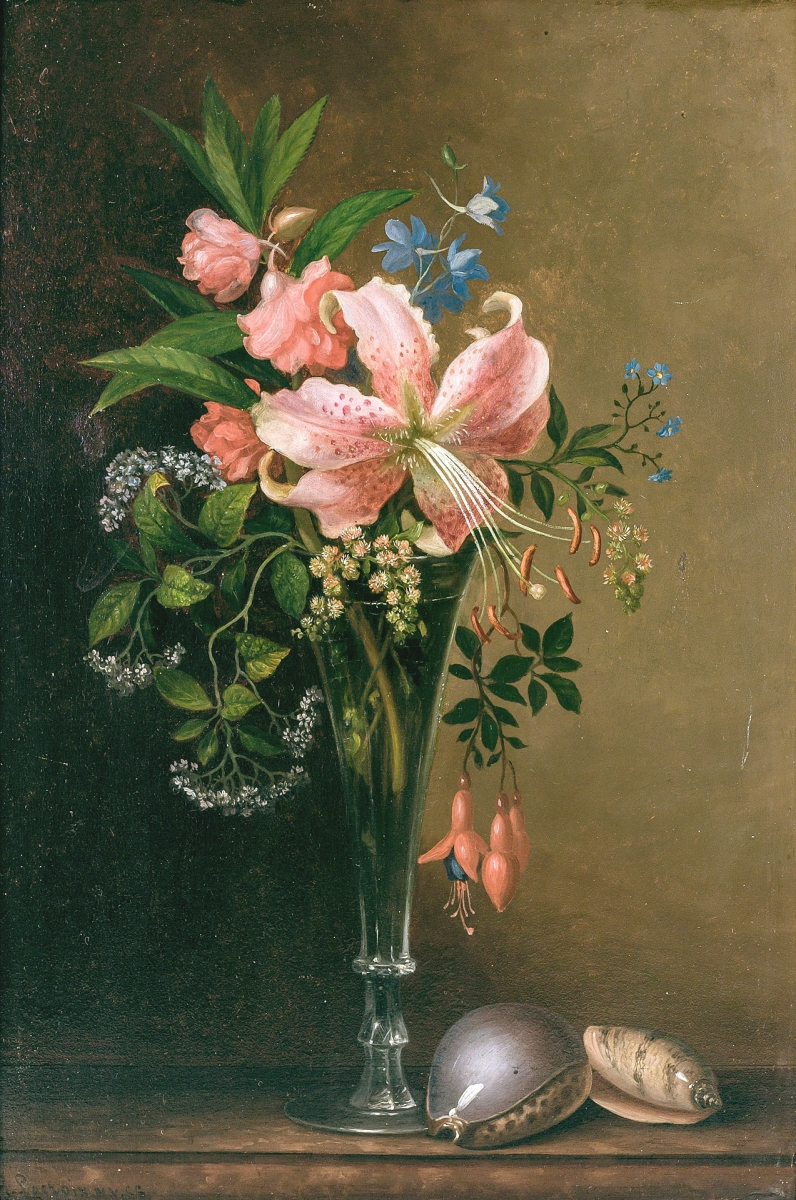 """Paul Lacroix (American, 1827-1869), """"Floral Still Life with Shells,"""" oil on board, signed, 17½ by 11½ inches, was bid to $71,500."""