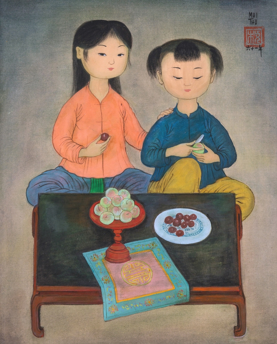 """This work by Mai Trung Thu had been exhibited in Paris in 1963. The ink and gouache on silk work, titled """"Coupe de fruits,"""" measured 13 by 10¾ inches and realized $95,250 ($60/80,000)."""