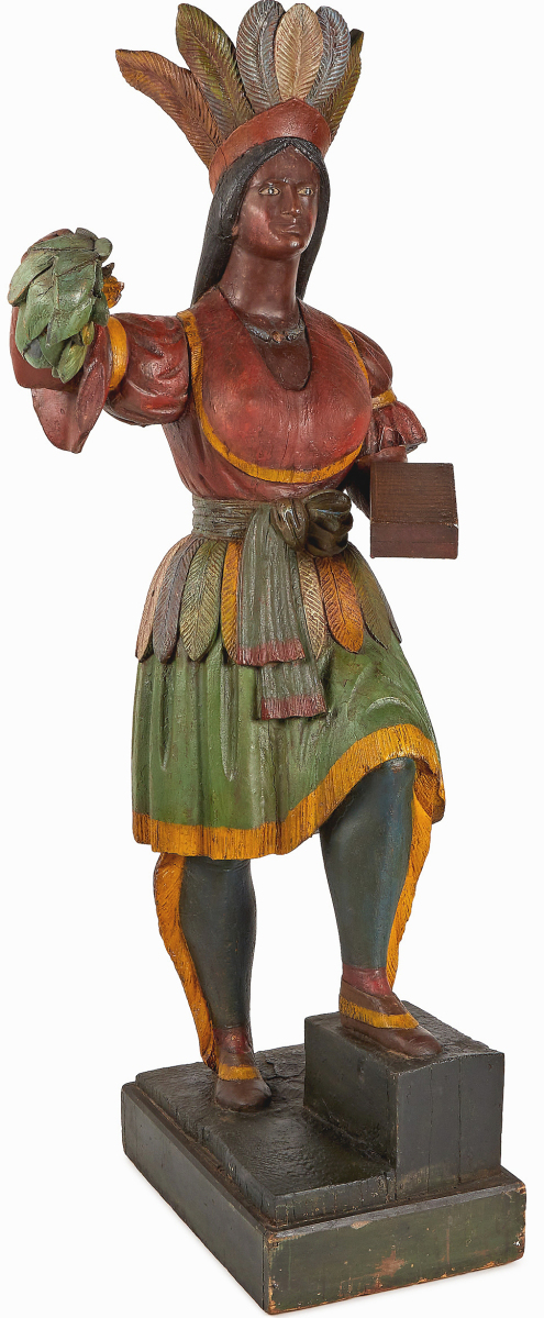 The second highest lot in the sale was this cigar store Indian maiden attributed to the shop of Thomas Brooks, which brought $36,900. She measured 79½ inches high.