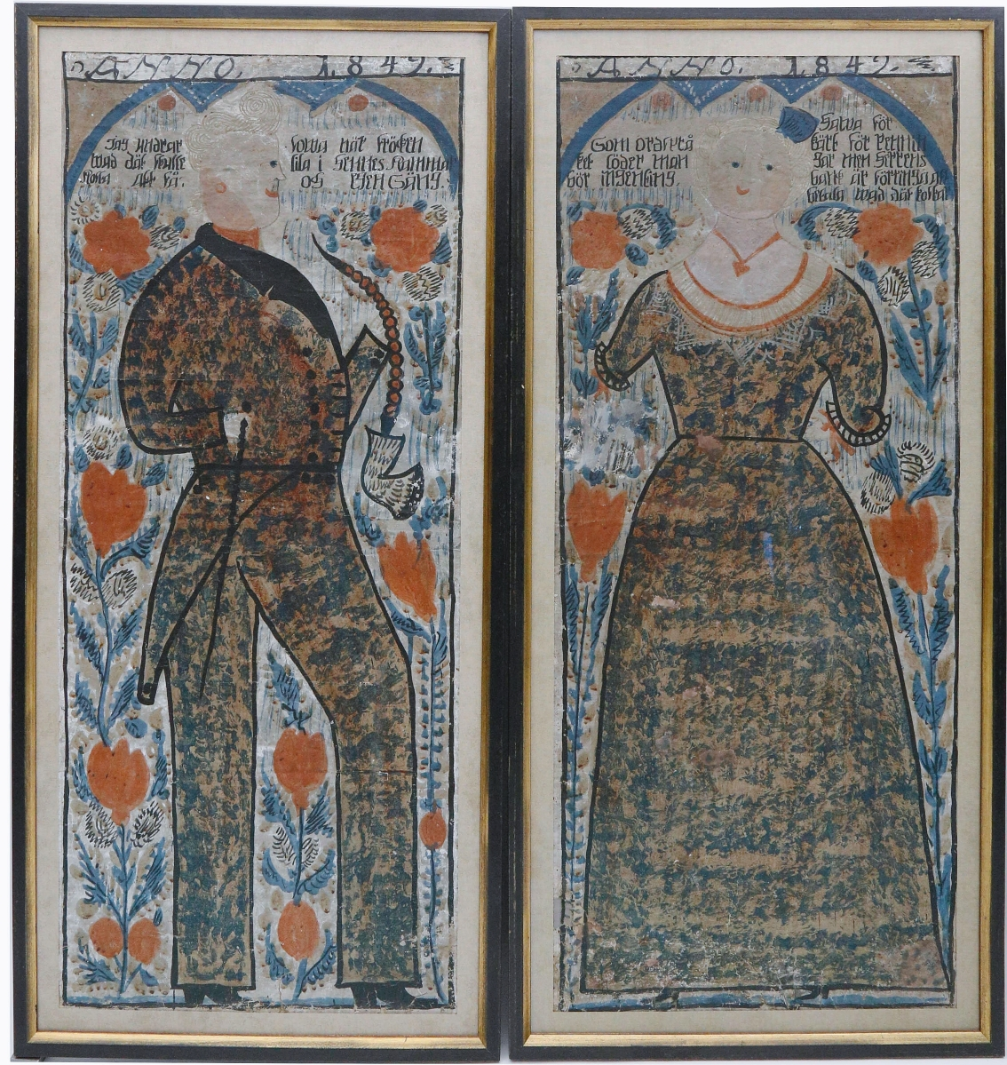 Bringing the most of ten lots of colorful Swedish folk art bonads was this lot of two tempera on paper portraits of a man and woman in colorful period clothing, dated 1849. It sold to an online buyer for $17,780 ($ ,000).