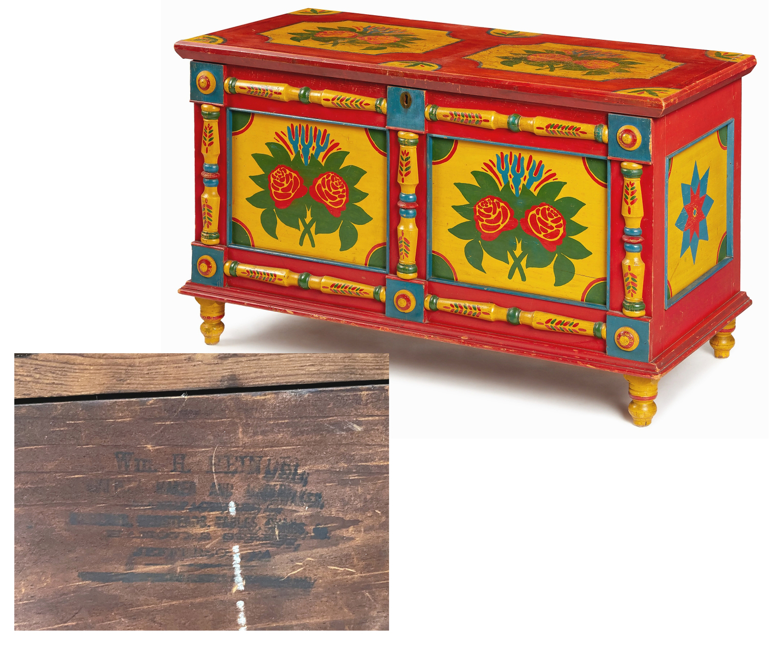"""The only found stamp on a """"Glen Rock"""" chest in a private collection has put a hand to the famed line of vibrantly painted Pennsylvania blanket chests that have earned renown among collectors. """"Wm H Heindel / Furnituremaker And Undertaker"""" lists his address in Jefferson, Penn., less than ten miles from Glen Rock, Penn."""