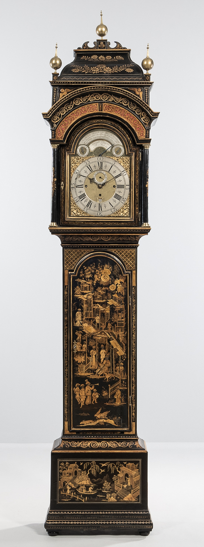 The sale was led by an English quarter-striking musical longcase clock by St Neots maker Joseph Eayre. The case featured all over japanning and the example went out at $21,250.