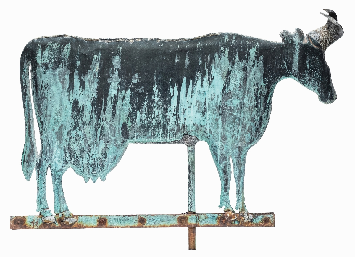 Gemini Antiques featured this cow weathervane. Oldwick, N.J.