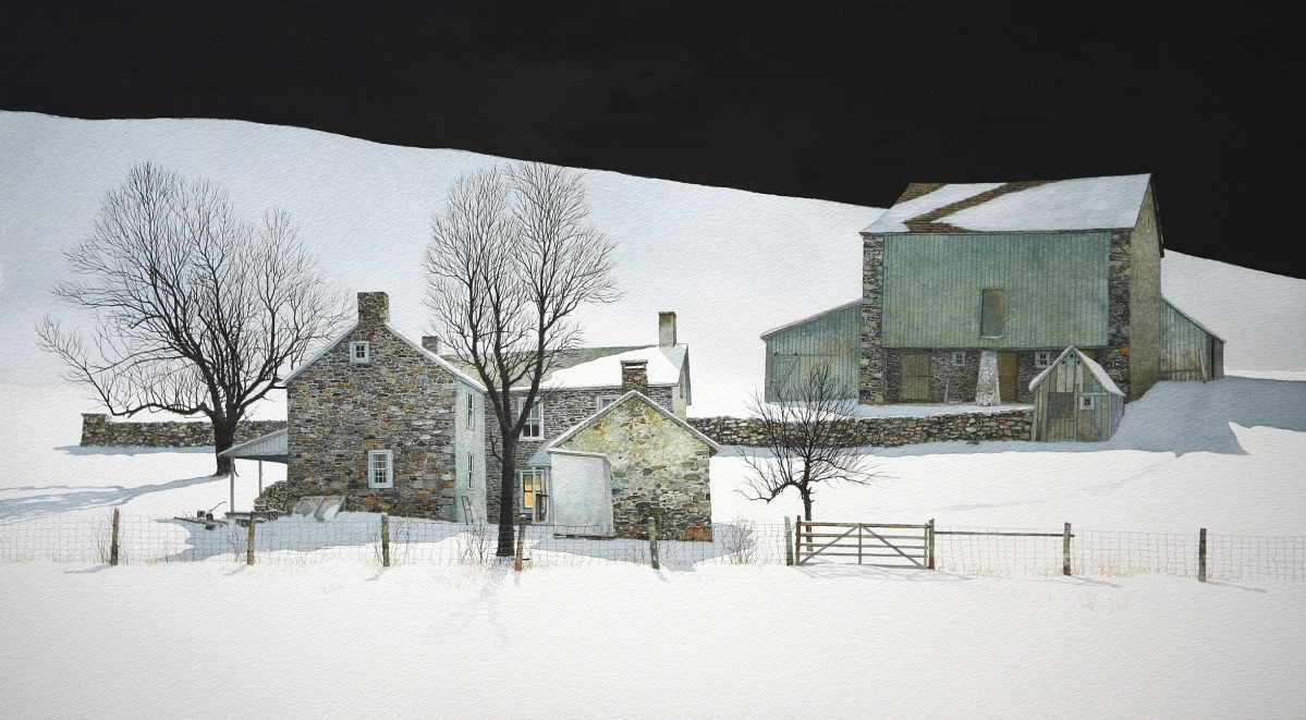 """One of the works sold by Gleason Fine Art was """"King's Hollow"""" by Peter Sculthorpe, a 2012 dry point watercolor on paper that depicted a Pennsylvania farmhouse in the snow. Boothbay Harbor, Maine."""