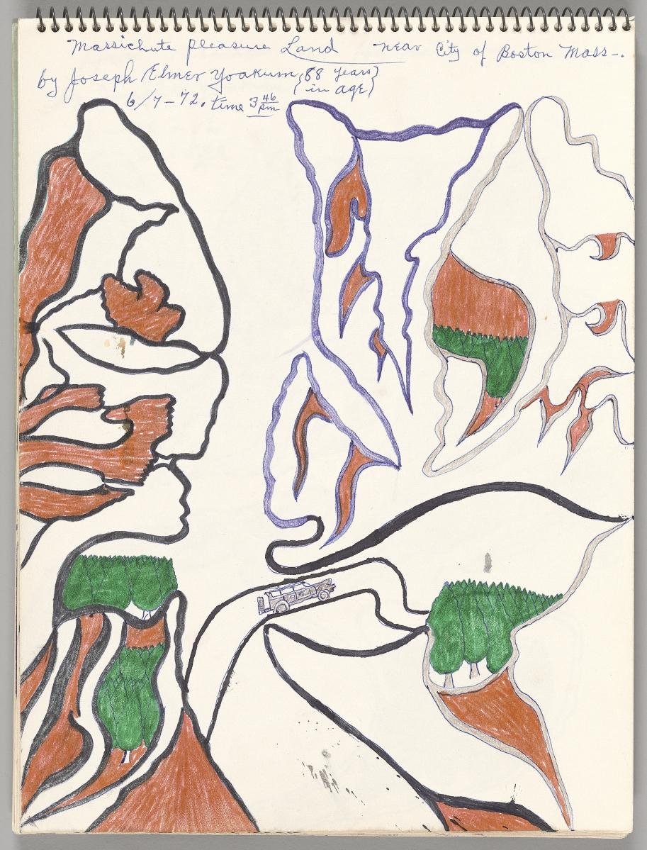 """Massichute Pleasureland"" by Joseph E. Yoakum, from Workbook C, 1972. The Art Institute of Chicago, Bequest of Whitney Halstead."