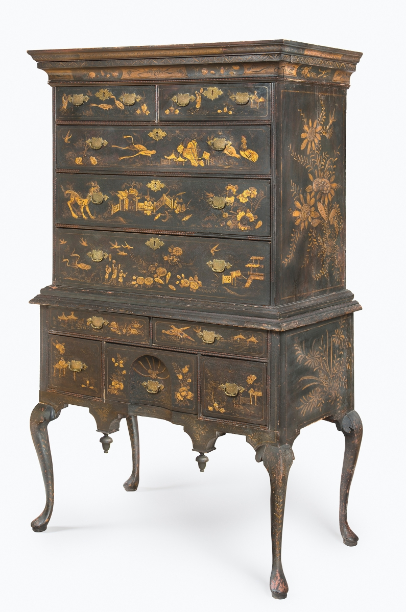 High chest of drawers made by John Brocas, (American, died 1740), 1733-1737. White pine, maple, maple veneer, gessoed and painted decoration, brass. Dietrich American Foundation. Image courtesy of Philadelphia Museum of Art, 2021.