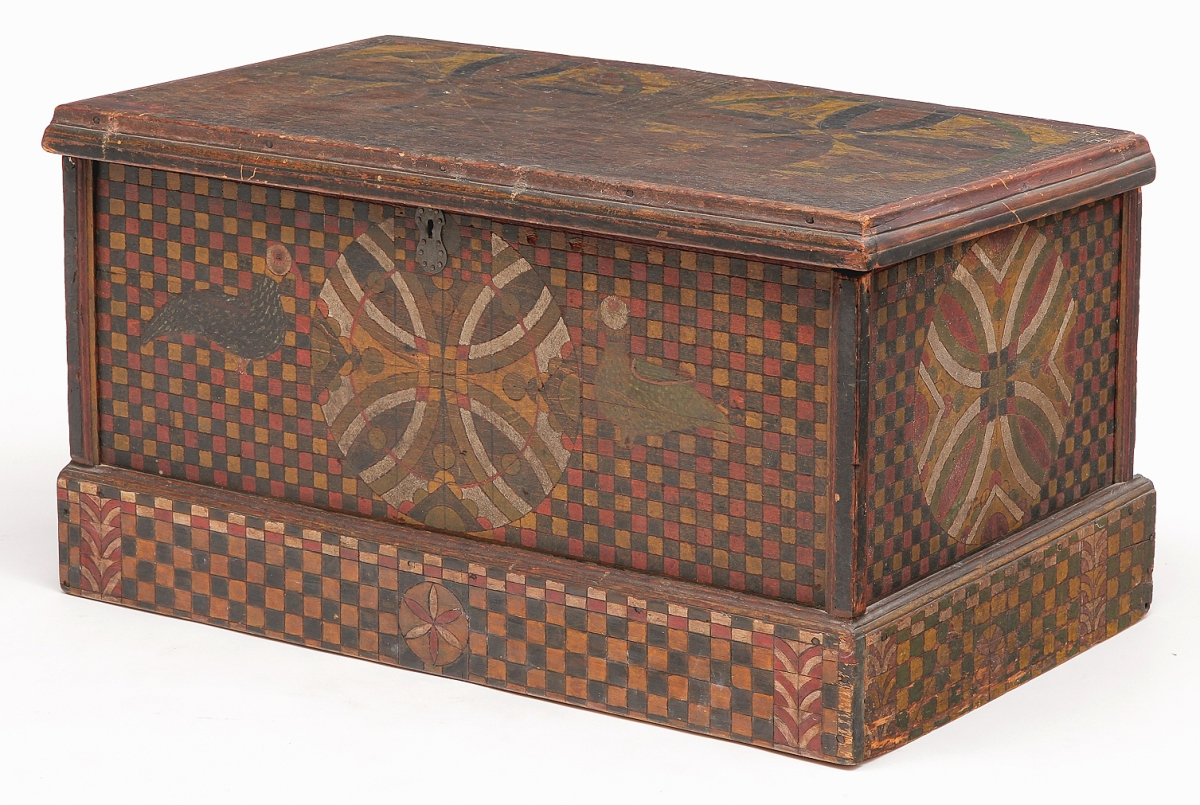 The opposing birds that flanked the central compass star medallion formed a feature rarely seen on pieces by the Checkerboard Artist of Somerset County, Penn. This trunk was an unknown example and brought $81,000 from a private collector bidding on the phone. It was the top lot in the sale ($25/50,000).