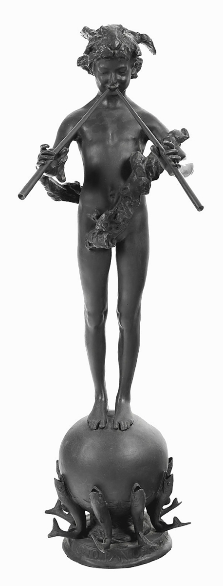 """A private American collector, bidding on the phone, paid $37,500 for this 1890 cast bronze statue of """"Pan of Rohallion"""" by Frederick William MacMonnies. It was the highest price realized in the sale ($20/30,000)."""