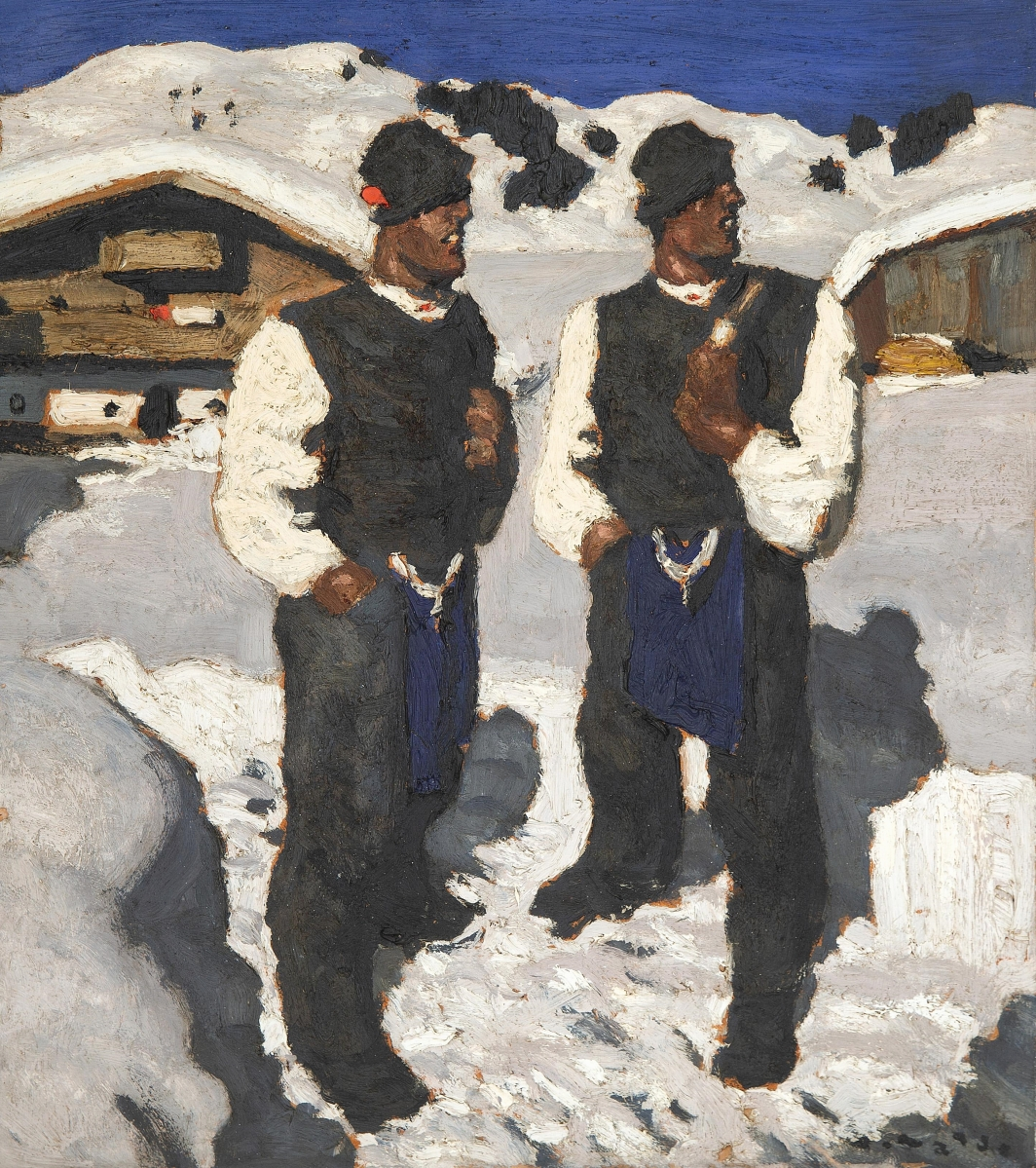 """Leading the sale and selling within estimate was Alfons Walde's (Austrian, 1891-1958) """"Bauernsonntag,"""" which sold to a buyer in Austria for $275,000 ($200/300,000)."""