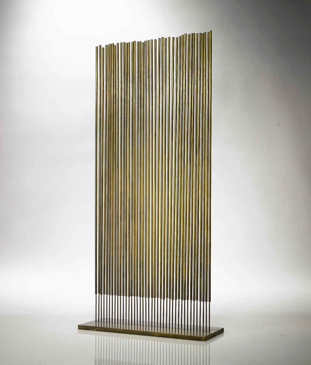 More than half of the works Lost City Arts exhibited were made by Harry Bertoia (1915-1978), including this untitled cattail sonambient from 1977 that was made from bronze, brass and copper and stood 33-  inches tall. New York City.