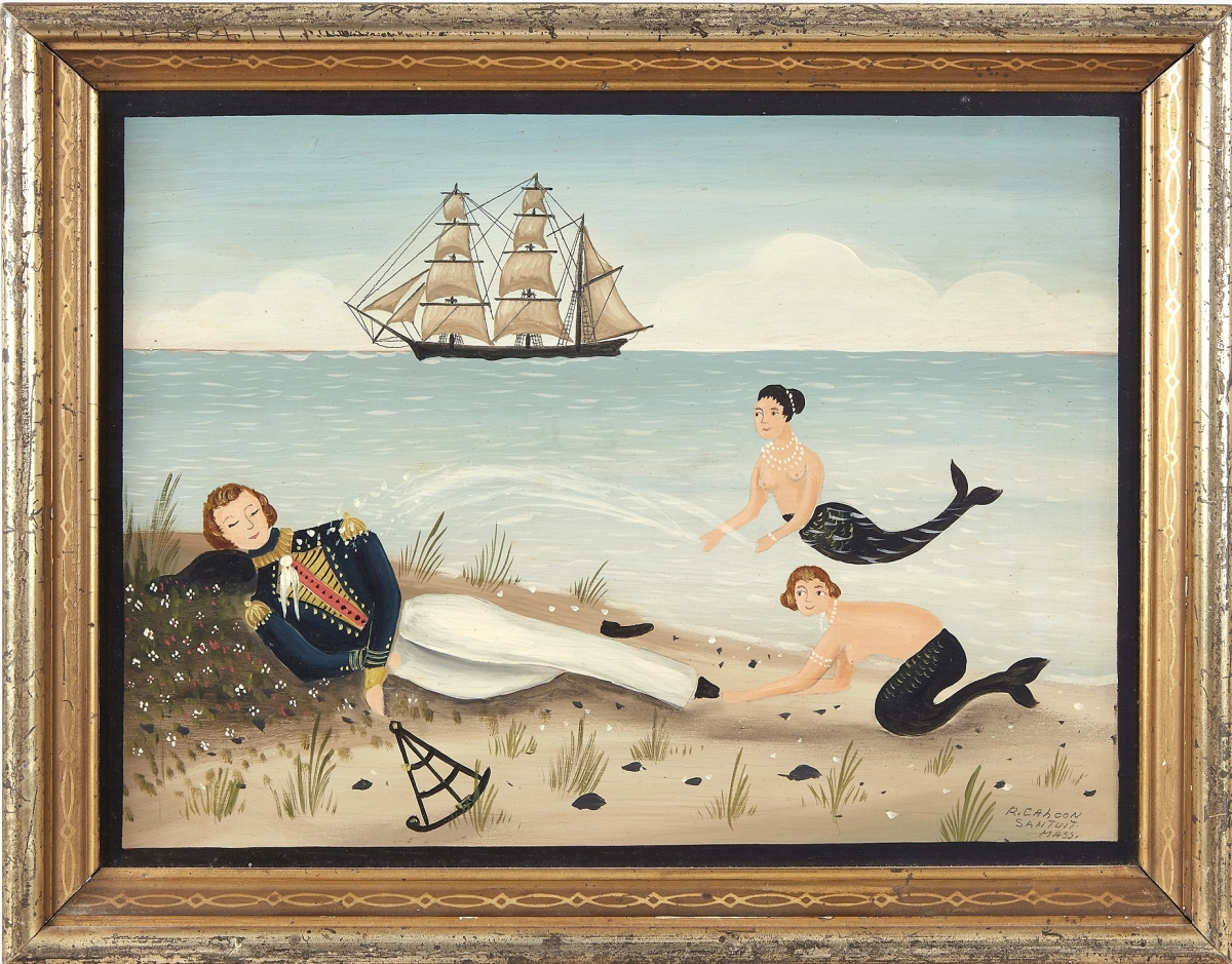 """The top lot in the sale was Ralph Cahoon's (1910-1982) """"Washed Ashore,"""" a small, 11½-by-8-inch oil on board that took $32,760."""