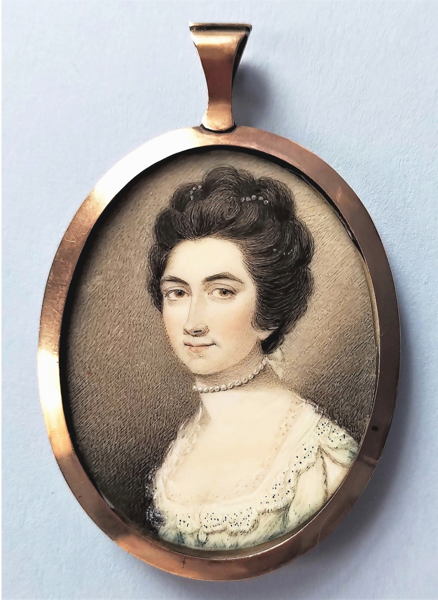 Elle Shushan sold several miniatures at the show but one that the Philadelphia dealer had not sold was this portrait of Mary Outwater Kingsland (1757-1829), done by Archibald Robertson (1765-1835).