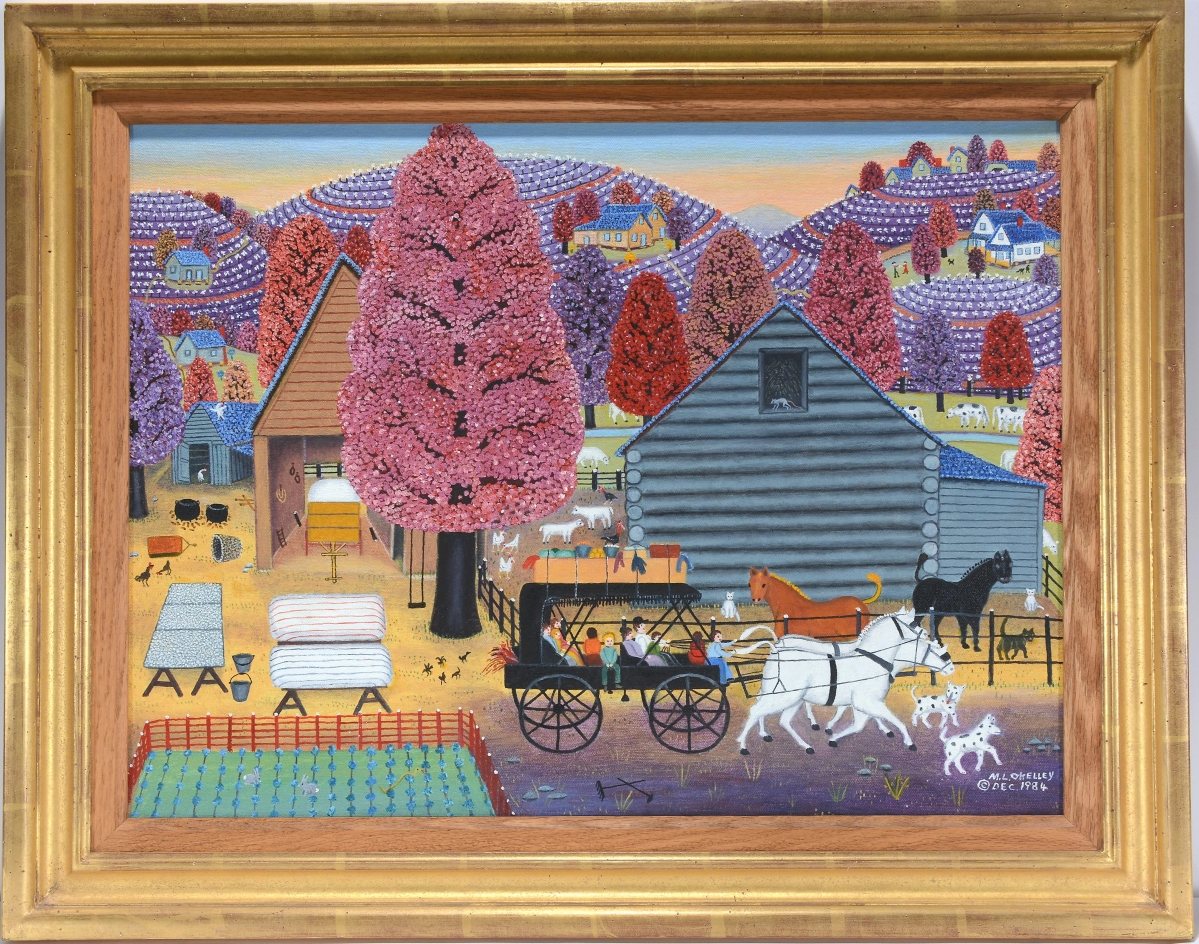 """Mattie Lou O'Kelley created a book titled CIRCUS!, where she recounted a trip her family took to the event in a horse-pulled wagon. """"Family Wagon Packed & Ready To Leave,"""" a 1984 oil on canvas measuring 24 by 18 inches, sold for $24,375."""
