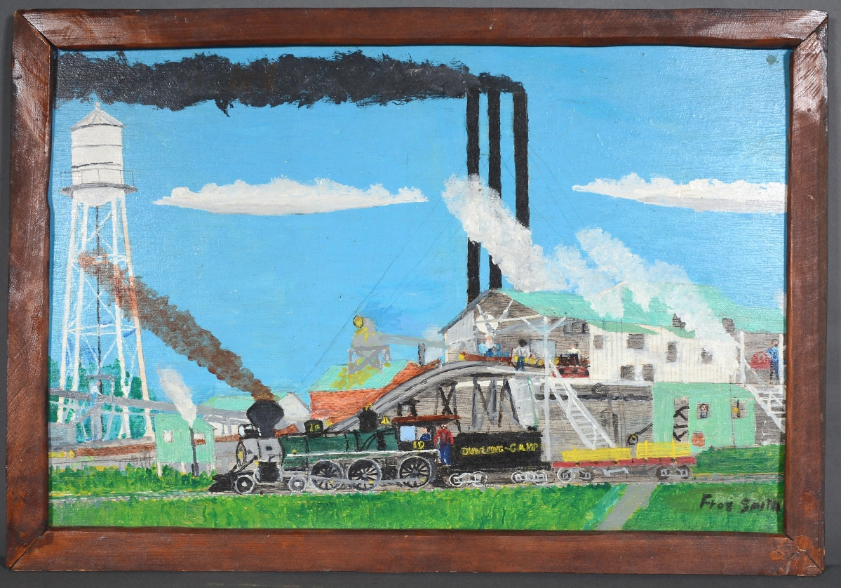 """An auction record was set for Florida memory painter and writer Ernest """"Frog"""" Smith (1896-1993) with $17,500 paid for """"Dowling Camp Mill At Slater, Fl 1928-1944."""" Logging camps were one of Smith's signature subjects as he retold his memories in paintings. """"Over the last 25 years, [his works have] been pretty consistent, about $ ,000,"""" Slotin said. """"But I think people are looking back and seeing a disappearing Florida — a bygone day and they want to remember it. His paintings are idealized visions of that area, what it was like in the 1920s-30s."""""""