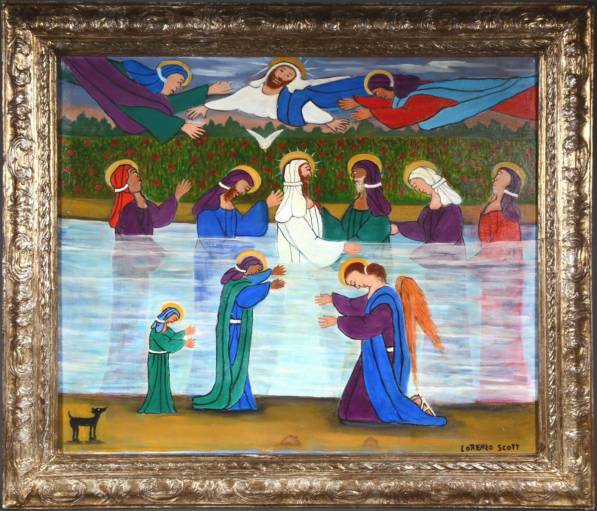 """""""He would take 2-by-4s and make the frame, and then he would cover them in Bondo, carve them and paint them gold. Almost all of his paintings have this gold frame that he did himself,"""" Slotin said of Georgia artist Lorenzo Scott (b 1934). This work, """"Baptism of Jesus,"""" handily surpassed the artist's previous auction record when it brought $13,125. The early 2000s oil on canvas came from the Ted Oliver collection and had been purchased directly from the artist."""