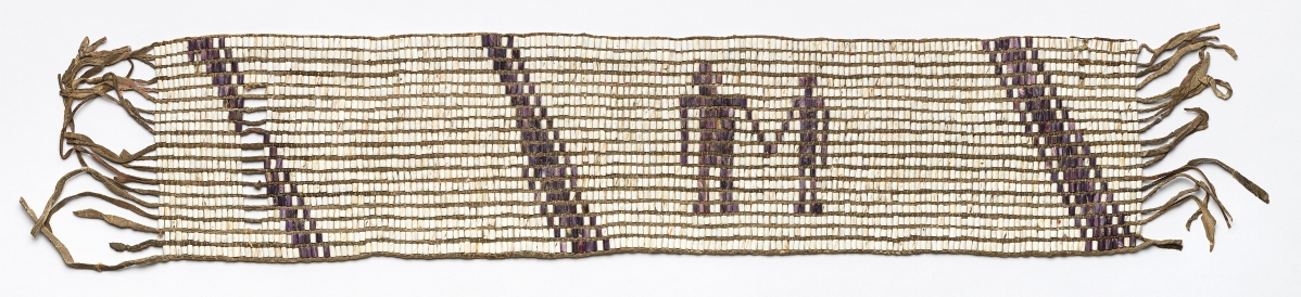 Wampum belt likely made by Lenape women artisans, 1682. Made in the Delaware Valley. On temporary loan from the Board of Trustees of the Atwater Kent Museum (Philadelphia History Museum), the Historical Society of Pennsylvania Collection and the City of Philadelphia.