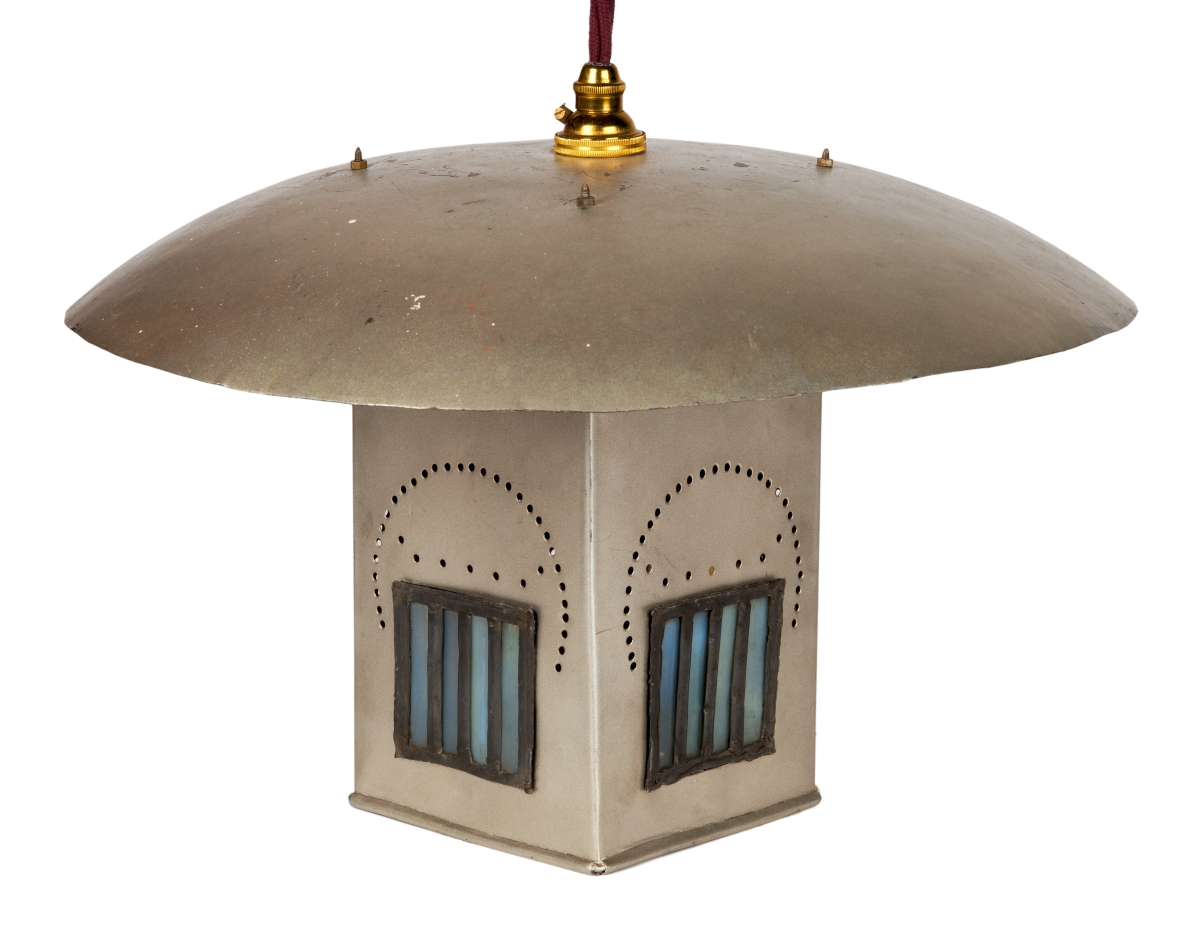 Light fitting for the Ingram Street Tea Rooms by Charles Rennie Mackintosh (designer), 1900. Copper, aluminum and leaded glass. Glasgow Museums, acquired by Glasgow Corporation, as part of the Ingram Street Tearooms, 1950. ©CSG CIC Glasgow Museums Collection. Courtesy American Federation of Arts.