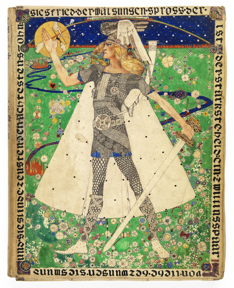 """""""Score for Gotterdammerung"""" by Dorothy Carleton Smyth (designer and maker) and Richard Wagner (composer), circa 1898 or after. Card, paper, ink and printed paper. ©CSG CIC Glasgow Museums Collection, presented by the artist's family, 1943. Courtesy American Federation of Arts."""