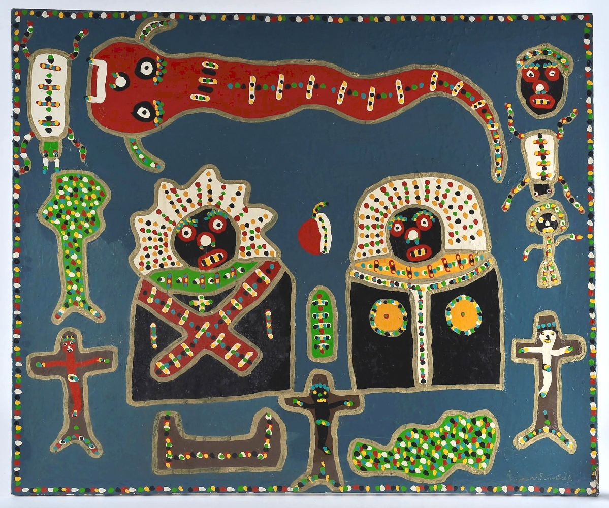 After passing away last year, South Carolina outsider artist Richard Burnside's market is rising. An auction record was set at $3,075 for this work, 53 by 44 inches. It was purchased from Burnside by dealer Richard Causey Jr. The artist lived with Causey Jr for two years from 2006 to 2008.