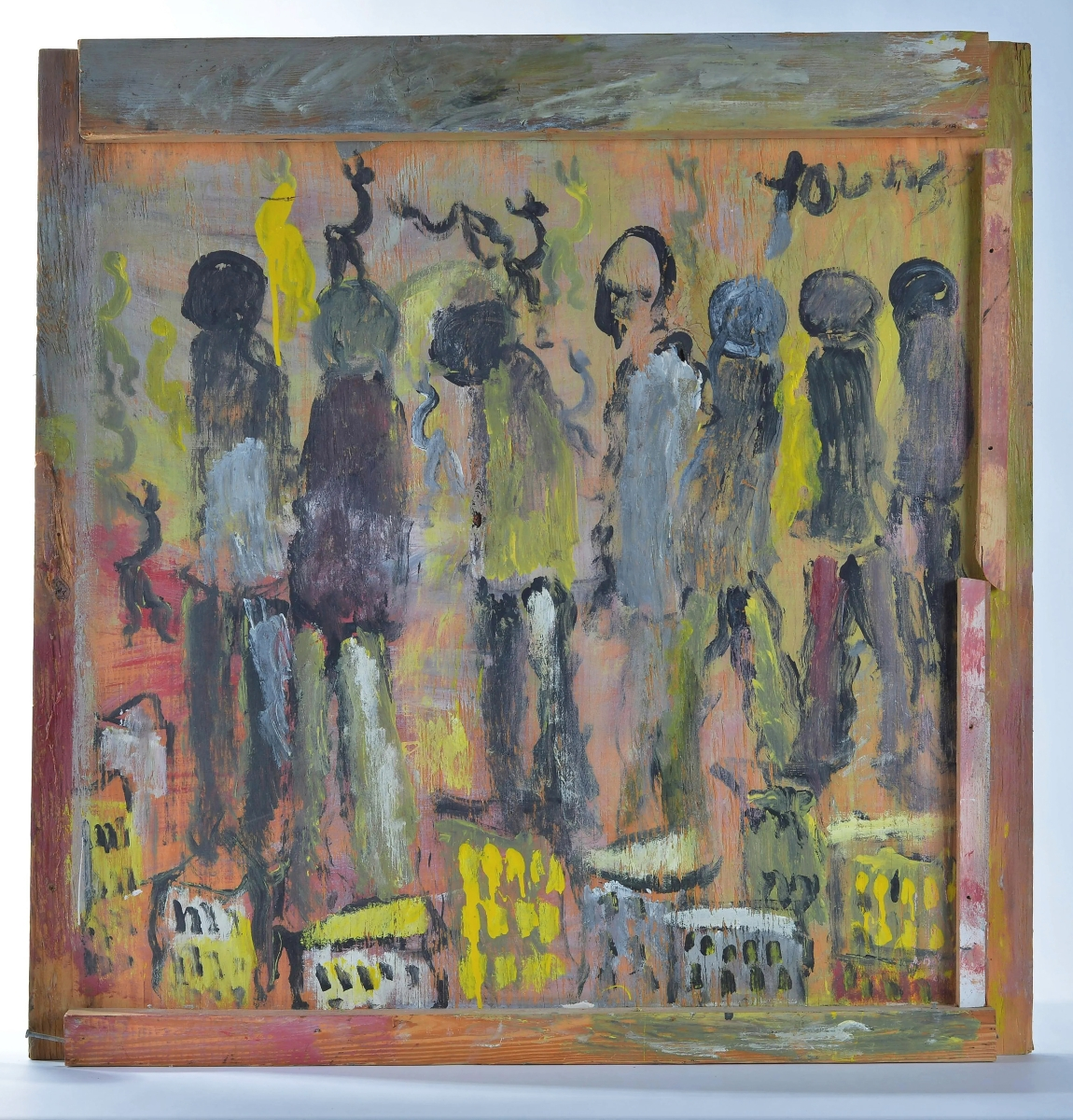 Forty-two artworks from Purvis Young were offered in this sale, consigned from two collections. Many were from the 1990s. This city scene led the pack at $3,690. Paint on plywood, 35½ by 35 inches.