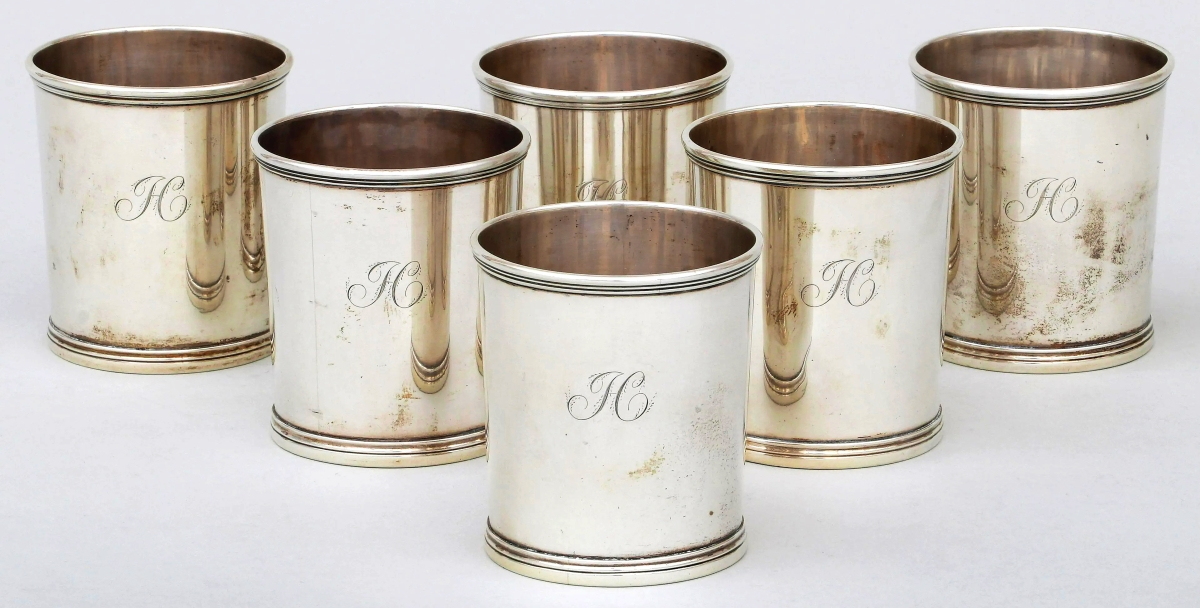 """The sale's top lot at $44,400 was a set of six silver julep cups by Lexington, Ky., silversmith Asa Blanchard, who was among Kentucky's most successful early silversmiths. These cups featured a monogram """"H"""" to all. Blanchard's works are in the collection of MESDA and Winterthur. Gary Albert wrote of Blanchard in the 2014 MESDA Journal."""