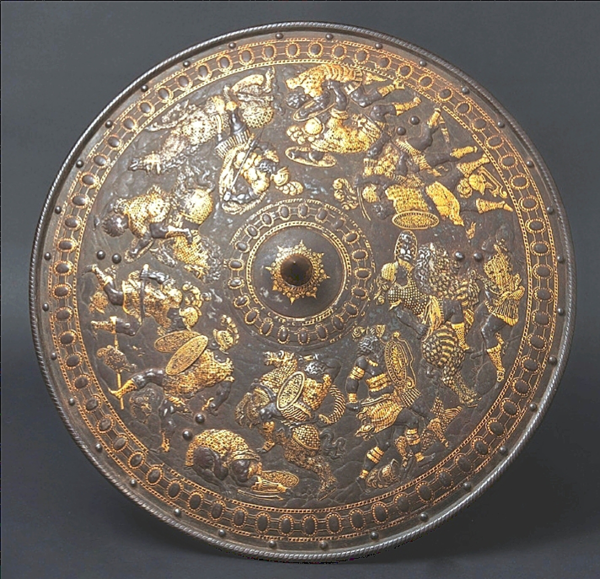 Topping lots of armor on May 27 was this circa 1560-70 Milanese gold-inlaid roundel shield that retained traces of the original leather lining and handles with remnants of their original red velvet covers. It nearly doubled its starting price and sold for $51,827.