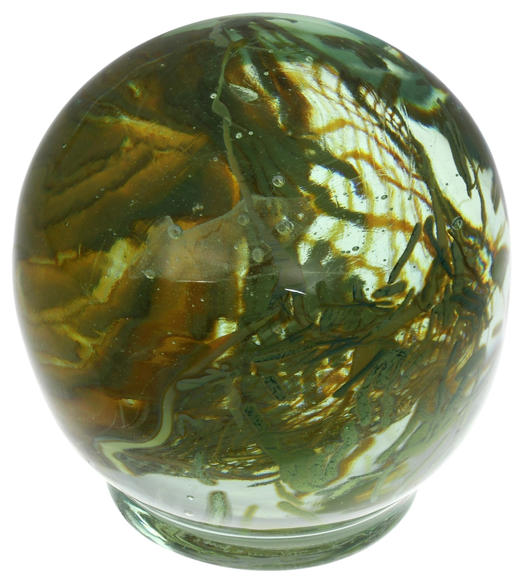 """A total of $50,820 was a big price for a small item, but the name Tiffany Studios was what propelled this """"Aquamarine"""" paperweight, circa 1918, engraved """"L.C. Tiffany — Inc., Favrile, 6508N"""" to its outsized result."""