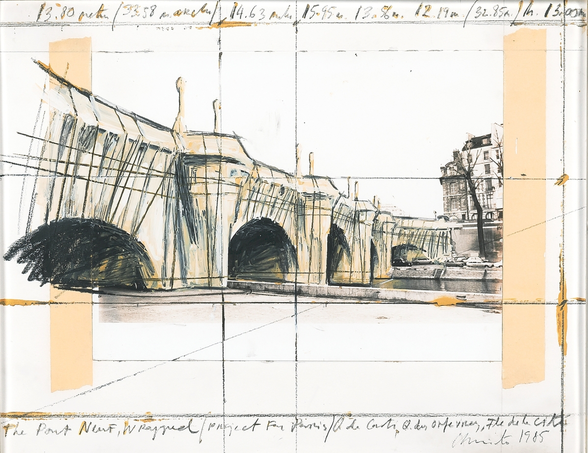 """""""The Pont Neuf Wrapped/Project for Paris,"""" done by Christo (American, 1935-2020) in 1985, was executed in pencil, charcoal and wax crayon, photograph, enamel paint and tape on paper and measured 11 by 14 inches. It sold to an online international buyer for $43,750 ($25/35,000)."""