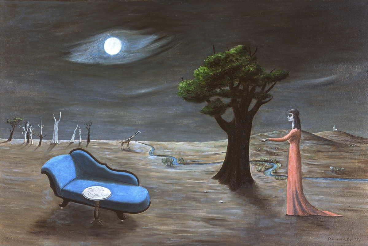 """""""Search for Rest"""" by Gertrude Abercrombie (American, 1909-1977), 1951. Oil on canvas. Collection of Sandra and Bram Dijkstra. Photo Sandy and Bram Dijkstra."""